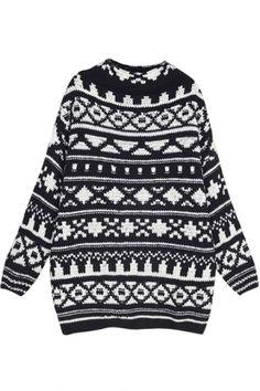 Geometrical Pattern High Neck Long Sleeve Tunic Sweater