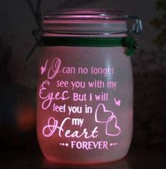 Personalised Glass Memory Candle Jar, I can no longer see you with my eyes but i will feel you in my heart, light jar, mason night light Mason Jars, Bottles And Jars, Mason Jar Crafts, Bottle Crafts, Glass Jars, Candle Jars, Glass Candle, Glass Block Crafts, Glass Blocks