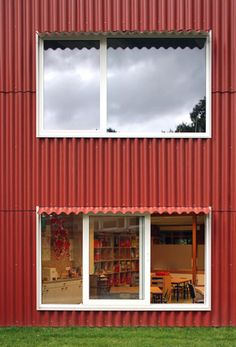 Image 4 of 17 from gallery of School extension Rumst / Bovenbouw. Photograph by Filip Dujardin Education Architecture, Fish Shapes, Cladding, Brick, Garage Doors, Exterior, Windows, Rustic, Gallery