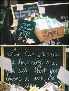 instagram signs + wedding welcome table signs #instagram http://www.weddingchicks.com/2013/11/18/inner-city-wedding/