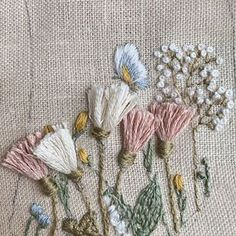 Hand Embroidery Stitches, Embroidery Techniques, Handmade Embroidery Designs, Free Pattern, Stitching, Sewing, Flowers, Kids, Burlap Crafts