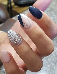 Nail art, nail polish, and nails image nails gel nails, navy nails og almon Navy Nails, Glitter Nails, Silver Glitter, Shellac Nails, Navy And Silver Nails, Acrylic Nails Almond Glitter, Navy Acrylic Nails, Burgundy Matte Nails, Accent Nails