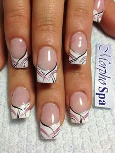 Ongles Making fat fingernails at home is very simple so long Nail Art Designs, French Tip Nail Designs, Nail Polish Designs, Ombre Nail Designs, French Acrylic Nails, French Nail Art, Summer Acrylic Nails, French Tip Nails, Long Gel Nails