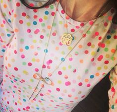 Monogram, bows and dots! Neon. Spring style. Spring fashion. @kristy_tatum Instagram