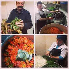 Çiya, Istanbul: in kitchen w Chef Musa: showing local tuber/greens, cleaning peppers/herbs,stuffed dried peppers,rolling sarma