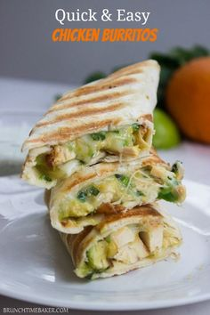 Quick and Easy Chicken Burritos - 2 c cooked shredded chicken, ½ c Mexican cheese blend, 1 avocado diced, 2 T cilantro chopped, 4 large tortillas, 2 T oil