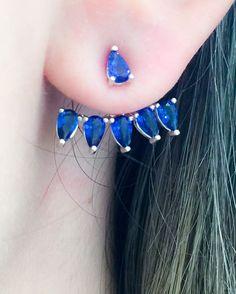 Semijóias — Nosso ear jacket Honore (R$ 140) na cor safira é...