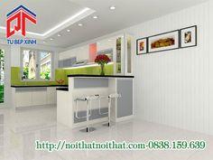 Tủ bếp acrylic kết hợp màu trắng xám mới lạ, độc đáo LTP128