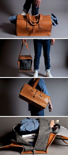 This modern light brown duffel bag protects your clothes in more ways than one - a felt interior zips up to keep your clothes all organised and a leather exterior wraps around the outside to give you more storage and additional protection for your clothes inside.