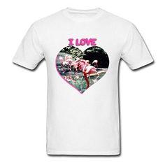 Amazon com TeeBack I Love Flamingos Running Men 39 s T Shirts Clothing