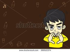 Cartoon boy lovely Character,In a fall in love mood,On brown color background.