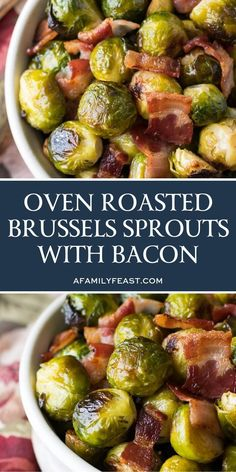 This recipe for Oven Roasted Brussels Sprouts with Bacon is for anyone out there who is convinced that they don't like Brussels sprouts! The trick is to roast them in the oven at a high enough temperature that they caramelize and get golden and crispy on the outside, and tender (but not mushy) on the inside.  And, since pretty much everything is better with bacon, we cooked our oven roasted Brussels sprouts with bacon, giving the sprouts even more delicious flavor! #brusselssprouts #sidedish