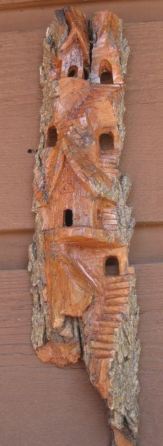 Carving Cottonwood Bark Whimsical House | Cottonwood Tree Bark Carving | CLEARANCE SALE Cottonwood bark carving ...