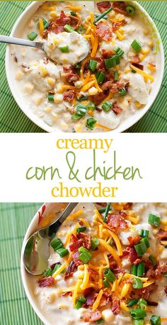 Creamy Corn and Chicken Chowder Recipe - perfect weeknight soup recipe!   Substitute with coconut milk