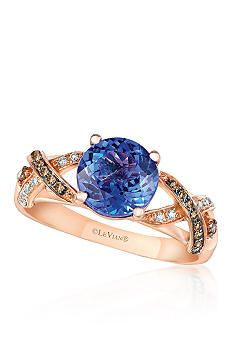 Le Vian® 14k Strawberry Gold® Blueberry Tanzanite™ Chocolate Diamond® and Vanilla Diamond® Ring