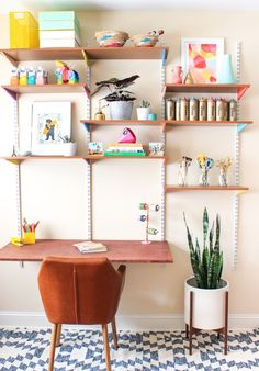 Pinned It, Made It, Loved It: DIY Mounted Wall Desk - The Crafted Life Diy Craft Table diy wall mounted craft table Home Office Design, Home Office Decor, Diy Home Decor, Cheap Home Office, Ikea Desk, Diy Desk, Diy Storage Desk, Craft Desk, Craft Space