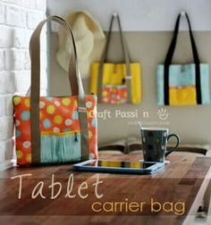 Tablet carrier bag sewing pattern FREE