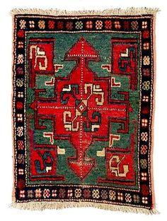 Shahsavan Rugs: Cruciform Medallion Northwest Persian knotted pile bagface C. 1880 Nagel Lot 81