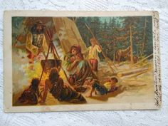 Antique artistic postcard, winter forest scene with gipsy family, 1915 Ethnic, Scene, Antiques, Winter, Artist, Painting, Ebay, Antiquities, Winter Time