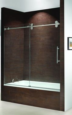 frameless bathtub doors kinetik frameless sliding tub enclosure single door slider with fixed