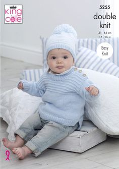 Knitting Patterns Boy Sweaters & Hats Knitted in Big Value Baby DK – King Cole Free Baby Sweater Knitting Patterns, Baby Hat Patterns, Baby Hats Knitting, Baby Boy Sweater, Knitted Baby Cardigan, Knit Baby Sweaters, Boys Sweaters, King Cole, Pulls