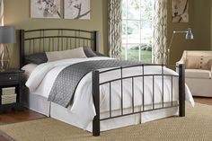 Scottsdale Bed by Fashion Bed Group -- Mixed-media combining metal rails and wood posts enhances the transitional styling of the Scottsdale bed.