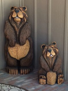 """5' and 30"""" Burly Bear chainsaw carvings. Chill'n on the porch in Pinetop Country Club!!!"""