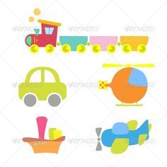 Cartoon Baby Transport Set #GraphicRiver
