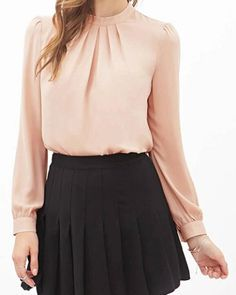 Stylish Stand Collar Long Sleeve Solid Color Chiffon Blouse For Women