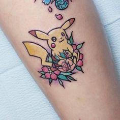 Kawaii style pikachu tattoo. Tattoo artist: Carla Evelyn