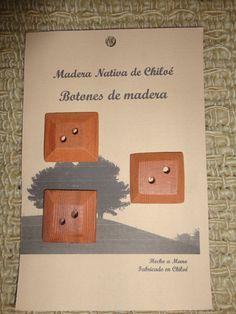 Botones Cuadrados con Bisel en Madera Nativa por ElEmporiodeSofia