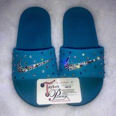 2fa144c0ba4c Bling Nike Slides (Blue Rainbow)