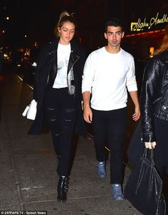 Date night: Gigi Hadid and boyfriend Joe Jonas arrive at the Saturday Night Live after party