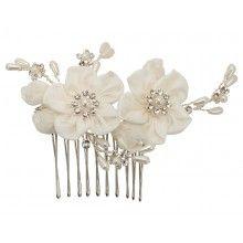 Swarovski Ivory Flower Comb