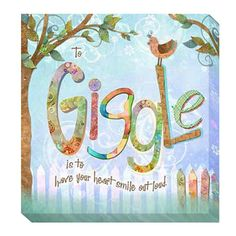 Connie Haley 'Giggle' Giclee Art - Overstock Shopping - Top Rated Canvas