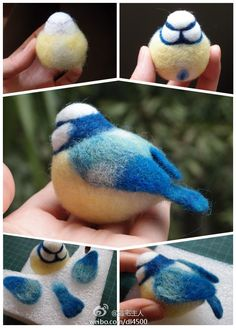 Needle felting pictorial tutorial how to make a felt titmouse bird.