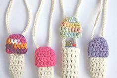 2 for 10 - Mushroom Lighter Holder - Cute Cotton Crochet Nintendo Novelty Necklace 1up - Custom Colors - Stash Spot, Party Wallet