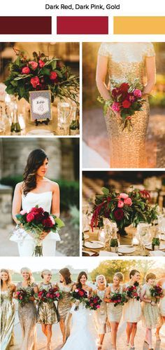 Wedding Trends Dark red, pink, and gold wedding color palette - Junebug Weddings has put together 7 fall wedding color palettes. These warm colors and cozy wedding designs are sure to inspire a fall wedding date! Gold Wedding Colors, Wedding Color Schemes, Wedding Themes, Wedding Designs, Wedding Color Palettes, October Wedding Colors, Gold Wedding Decorations, Colour Schemes, Color Trends