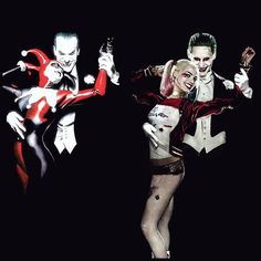 On the left you can see Harley's adoration of Joker and his look is his typical look. In the second, new photo they look like a legit couple who's together out of mutual love. Jared Leto Joker Costume, Harley Quinn And The Joker, Entertainment Weekly, Puddings, Jokers, Dc Comics, Batman, Alex Ross, Harely Quinn