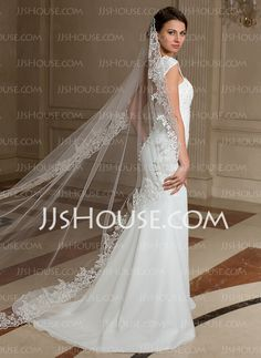 Chapel Veils Tulle One-tier Lace Applique Edge Wedding Veils With Classic (006024462)