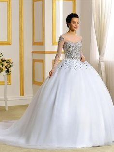 $229.99 Bridess 2015 Pearls Beading Long Sleeves Tulle Ball Wedding Dresses  For Bride At Amazon Womenu0027s