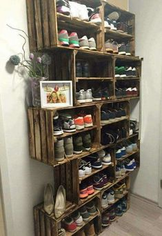 Easy DIY Shoe Rack Ideas You Can Build on a Budget - Love the idea for shoe storage rack using rustic crates # Easy DIY storage 62 Easy DIY Shoe Rack Storage Ideas You Can Build on a Budget