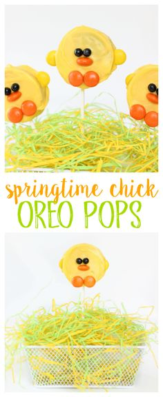 These chick oreo pops are so fun for spring! Yellow candy melts, and candy accents bring them to life!