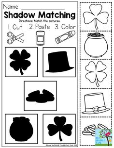 Shadow Matching- TONS of printable resources in the NO PREP Packet to help PRESCHOOL students with shapes, number concepts, colors, letter recognition and so much more! Homeschool Kindergarten, Preschool Learning, Homeschooling, Teaching, March Crafts, St Patrick's Day Crafts, Sant Patrick, Pre K Worksheets, March Themes