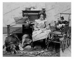 Vintage Photo Girl Sewing Dog Baby Doll Buggy 8x10 In | eBay