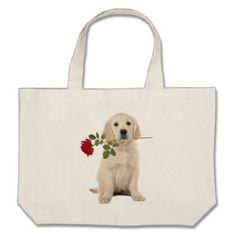 Golden Retriever Puppy Dog Pink Love Heart Tote - dog puppy dogs doggy pup hound love pet best friend