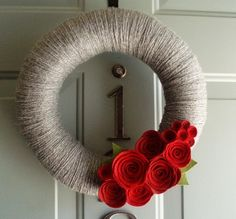 Yarn+Felt+Styrofoam Wreath Form = A Happy Decoration to Greet You at the Door