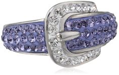 Carnevale Sterling Silver Buckle Shape Purple and White Swarovski Elements Ring, Size 6 Amazon Curated Collection,http://www.amazon.com/dp/B00BGNB8GK/ref=cm_sw_r_pi_dp_9RQhtb1Y6Q6C5WAK