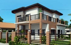 Marcelino Model is a a four bedroom two storey house that can be built in a x meter lot. With Patio at the front, the Balcony at the second floor serves as a shade. The living room is 25 sq. which opens to the dining and kitchen. Two Story House Design, Small House Design, Small Cottage Designs, Two Storey House Plans, Modern House Plans, Modern Houses, Home Design Plans, Model Homes, Second Floor