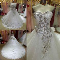 Luxurioes-Tutu-Kristall-Lang-Weiss-Ivory-Applikationen-Brautkleid-Hochzeitskleid